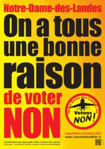 Affiche appelant au non pour le transfert de NDDL